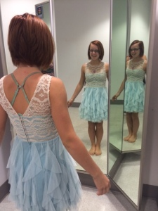 Shopping for Hailey's Homecoming Dress Saturday. Would you believe we actually bought the very first dress she tried on? That had to be a fluke.